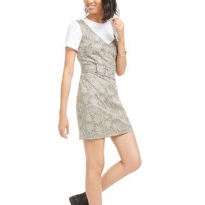 Bar III Faux-Suede Snake-Embossed Dress